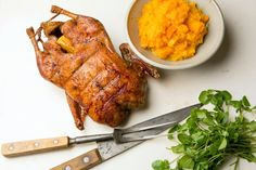 Roast Duck with Orange and Ginger by The New York Times. Roast Duck with Orange and Ginger Recipe from the New York Times Duck Recipes, Chicken Recipes, Game Recipes, Mashed Butternut Squash, Roast Duck, Roasted Turkey, Orange, Cooking Recipes, Nytimes Recipes