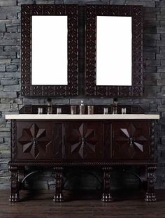 "James Martin Furniture - Balmoral 60"" Antique Walnut Single Vanity with 4 CM Galala Beige Marble Top - 150-V60S-ANW-4GLB"