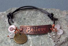 Angels Watching Over Me Hand Etched Copper & Leather Bracelet Name Word Friendship Spirit Personalized Custom Leather Inspirational BELIEVE