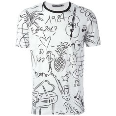 Dolce & Gabbana Jazz Printed T-Shirt (3.245 DKK) ❤ liked on Polyvore featuring men's fashion, men's clothing, men's shirts, men's t-shirts, shirts, guy's, men, black, mens holiday t shirts and guy harvey mens shirts