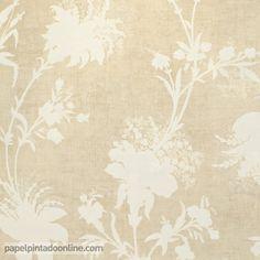 Papel Pintado Paris RS72409 con fondo beige y estampado floral muy discreto en tono blanco roto.