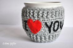 Mug Cozy I Love you Valentines day. My Funny Valentine, Valentine Day Gifts, Valentines, Mug Cozy, Coffee Cozy, Crochet Cup Cozy, Knit Crochet, Personalized Mugs, Yarn Crafts