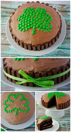 Shamrock Kit Kat Cake for a St Patrick's Day dessert! Love the green m&ms for the clover!
