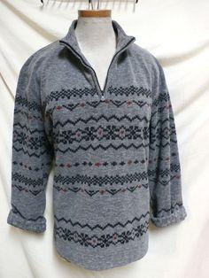 Liz Claiborne EUC Gray & Black Fleece Like Winter Pullover Sweater XL #LizClaiborne #PulloverSweater