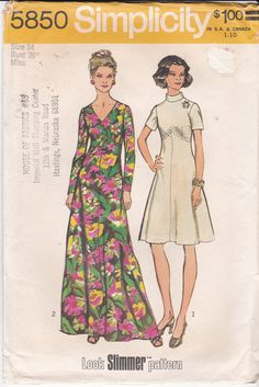 Vintage Simplicity Sewing Pattern 5850 V-Neck or by Ziatacraft