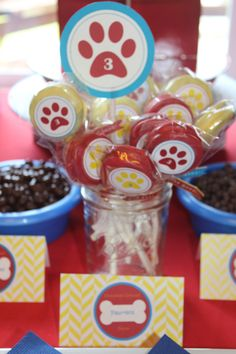 DIY chocolate covered oreos and dog themed labels for Paw Patrol birthday