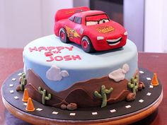 Lightening Mcqueen Cake Disney Cars (by Say it with Cake) Disney Themed Cakes, Disney Cakes, Cars Theme Cake, Birthday Cakes, Birthday Ideas, Planes Birthday, Mcqueen Cake, Lightening Mcqueen, Thomas Birthday