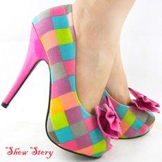 Multi-Color Check Tartan Bow Pink Platform Shoes