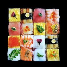 Halfway between a bento and a sushi platter, here is Mosaic Sushi, a new trend of food art came from Japan! This new culinary design consists in creating colo Oshi Sushi, Sushi Love, Japanese Sushi, Japanese Meals, Sushi Art, Food Trends, Eating Raw, Culinary Arts, Cute Food