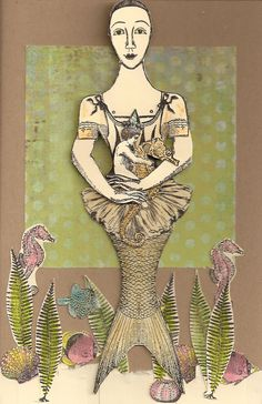 Card by Nancy Gene Armstrong working with stamps from Character Constructions She Sells Seashells collection. the tutu is from the Mannequin Cafe collection.