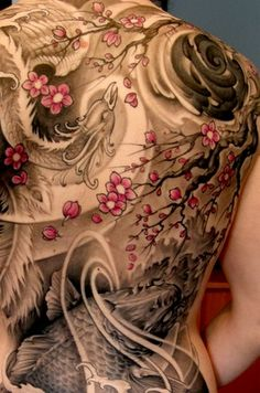 full back bird fish koi tree greyscale pink tattoo