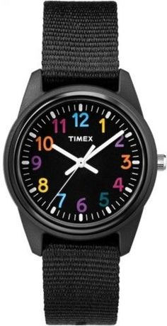 Timex Girls' Time Machines Analog Resin Watch, Black Elastic Fabric Strap