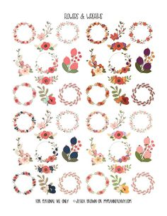 Free Printable Flowers & Wreaths Clip Art {PDF, JPG and Studio3 files} from myplannerenvy.com