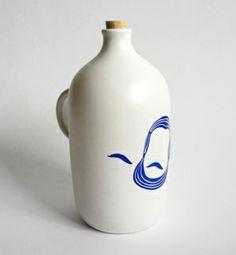 modranska Ceramic Design, Blue Design, Screen Printing, Presents, Pottery, Entertaining, Shapes, Bottle, Unique