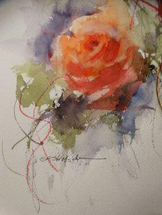 """Tangerine Rose"" 10x7 transparent watercolor, Sandra L. Strohschein, rembrandt pigments, arches 140# CP sandralstrohscheinfineart.com"