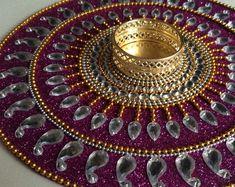 Kundan rangoli Tealight candle holder mandala decor by CozMHappy Thali Decoration Ideas, Diy Diwali Decorations, Kalash Decoration, Diwali Diya, Diwali Craft, Gypsy Decor, Boho Decor, Tea Light Candles, Tea Lights
