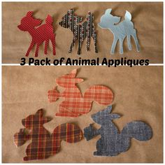 3 Pack animal iron-on applique for woodland nursery or crafts, squirrel, rabbit, deer on Etsy, $7.25