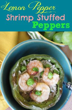A new twist on stuffed green bell peppers: Lemon Pepper Shrimp Stuffed Peppers #SauteExpress #cbias #shop http://freebies4mom.com/lemonpepper/