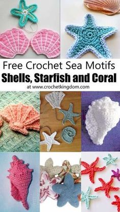Crochet Sea Motifs - Shells, Starfish and Coral. Free crochet patterns for sea shells, star fish, conch shells, clam shells and more! Free Crochet Pattern for a Short Hills Shell Women's Top. Skill Level: Easy Easy women's tank top crochet pattern fre Crochet Seashell Applique, Crochet Shell Pattern, Crochet Starfish, Appliques Au Crochet, Crochet Applique Patterns Free, Crochet Flowers, Beach Crochet, Free Pattern, Amigurumi Patterns