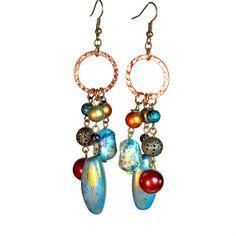 Earthy Earrings Boho Chic Bohemian Jewelry in by BluKatDesign, $15.00