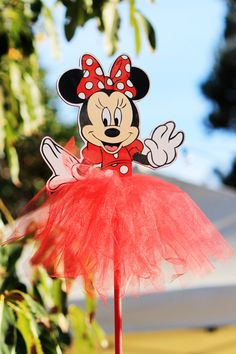 Minnie Mouse Red Polka Dot Wood Centerpiece with tutu for Birthday Party, Cake Table, Guest Table, Decoration, Party Favor Box, Home Decor by MarieRoseDecorations on Etsy