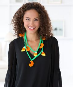 Fall Festival Necklace Free Crochet Pattern from Red Heart Yarns #Halloween