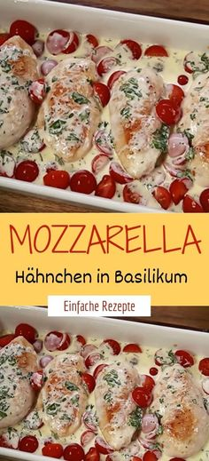 Advertisement Zutaten: 4 hühnerbrust – filet salz und pfeffer 1 el öl 250 g . Ingredients: 4 chicken breasts - fillet salt and pepper 1 tablespoon of oil 250 g cocktail tomatoes pot of basil 200 Chicken Breast Fillet, Chicken Breasts, Mozzarella Chicken, Tomate Mozzarella, Basil Chicken, Good Food, Yummy Food, Greens Recipe, Healthy Chicken Recipes