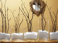 Branches in the Snow. For faux snow, you can use Epsom salts or make a mixture of 1/2 Epsom salts and 1/2 baby powder.
