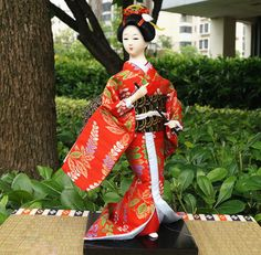 30cm Japanese Vintage Traditional Geisha Doll Silk Kimono Figurine-Geisha 29