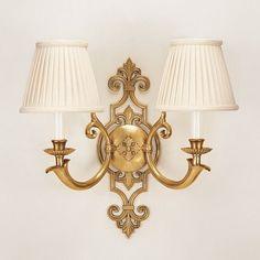 Antiqued solid brass two-light electrified sconce with round pleated fabric shades, for candelabra bulbs; Wall Lights, Sconces, Decor Crafts, Sconce Lighting, Classic Furniture Living Room, Lights, Fabric Shades, Light, Brass Sconce