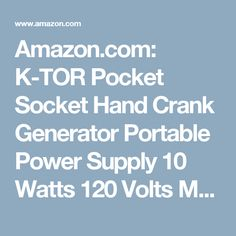 Amazon.com: K-TOR Pocket Socket Hand Crank Generator Portable Power Supply 10 Watts 120 Volts Made in the USA: Home Audio & Theater