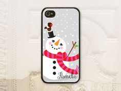 Happy Snowman phone case by LilStinkerDesign