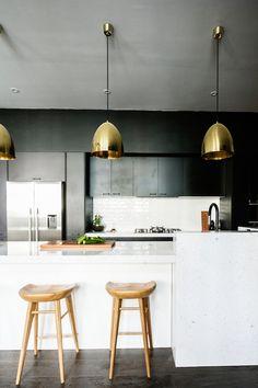 Brass Pendants & Wooden Stools