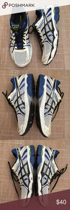 ASICS Men's Gel-Flux Running Shoes Sz 9 ASICS Gel-Flux, men's size 9. Style# T3D4N. Blue/white/black. Great condition, only used a few times. Shows minor wear—Please review all photos. Photo 3 has an arrow pointing to small wear on the left shoe. No trades, please. Thank you. Asics Shoes Sneakers