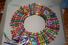 100 Days of School Shirts & Activity Ideas 100 Days of School Crayon Wreath 100 Day Project Ideas, 100 Day Of School Project, School Projects, Projects For Kids, Crafts For Kids, Arts And Crafts, School Ideas, School Fun, 100 Days Of School Project Kindergartens