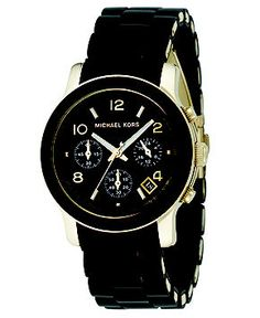 I love love this watch!! Michael Kors Watch, Women's Chronograph Runway Goldtone Stainless Steel and Black Polyurethane Bracelet 38mm MK5191 - Women's Watches - Jewelry & Watches - Macy's