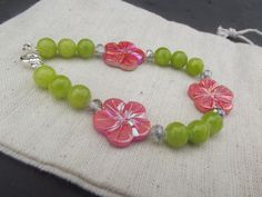 Natural Lime Green and Pink Shell Bracelet by Allimade on Etsy, $18.00