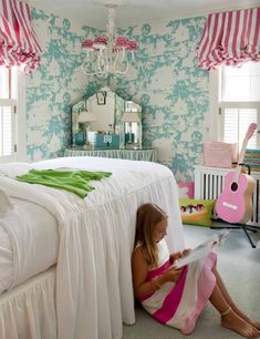 turquoise toile wallpaper + striped window treatments