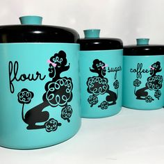 ❇️SoldOut❇️Set of 4 poodle canisters✨Link in bio✨ Vintage Canisters, Vintage Kitchenware, Kitchen Canisters, Vintage Kitchen Decor, Kitchen Dishes, Kitchen Tips, Aqua Kitchen, Kitchen Queen, 1950s Home Decor
