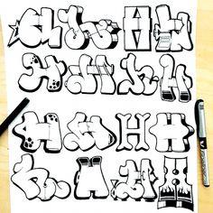 Graffiti Lettering Alphabet, Graffiti Text, Tattoo Lettering Fonts, Graffiti Tagging, Graffiti Drawing, Doodle Lettering, Street Art Graffiti, Hand Lettering, Doodle Fonts
