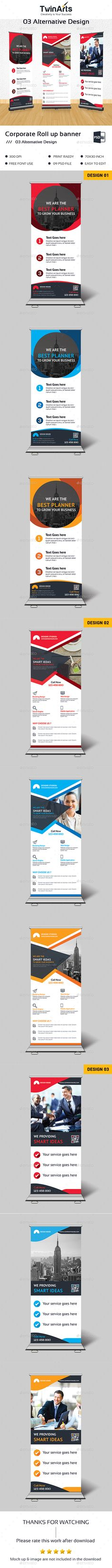 Roll up Banner by Twin-Arts Roll up Banner. This is a Corporate Roll up Banner . This template download contains a 300 dpi print-ready CMYK psd files.All mai