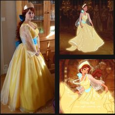 Anastasia Cosplay Costume Princess Anastasia Yellow Dress Halloween... ($135) ❤ liked on Polyvore featuring costumes, dresses, grey, women's clothing, comic book character costumes, womens princess costume, lady costumes, womens costumes and comic cosplay costumes