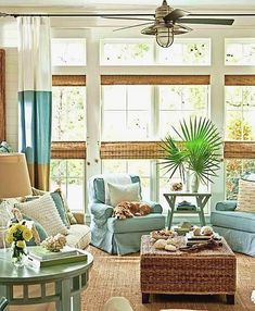 Beach Themed Living Room Ideas With Wooden Coffe Table And Bamboo Shades And Ceiling Fan And Indoor Plants : Fresh Beach Themed Living Room Ideas Gallery Coastal Living Rooms, Coastal Homes, My Living Room, Coastal Decor, Home And Living, Living Spaces, Coastal Style, Coastal Cottage, Coastal Farmhouse