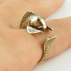 Animal Wrap Ring - Fish - Yellow Bronze - Adjustable Ring - keja jewel – Keja Designs Jewelry
