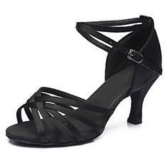 d61d02adf600a9 Damen Schuhe für den lateinamerikanischen Tanz   Salsa Tanzschuhe Satin  Sandalen   Absätze Schnalle Kubanischer Absatz