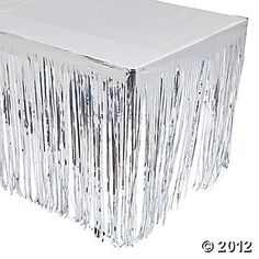 Silver Fringe Table Skirt. This would be fun for the dessert table at a disco party. See more party ideas at www.sparklerparties.com/studio-54