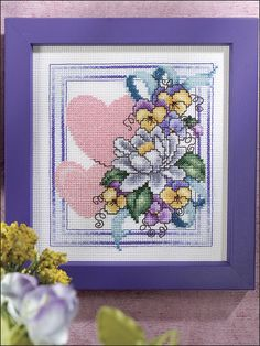Cross-Stitch - Holiday & Seasonal Patterns - Valentine's Day Patterns - Hearts and Pansies