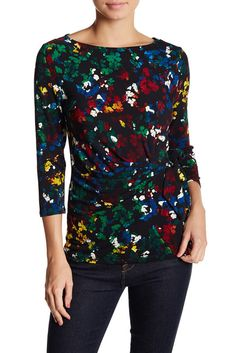 Image of Chaus Enchanted Petals Side Knot Blouse