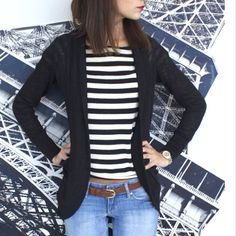 Sallymander9, banana republic black and white striped top, h&m jeans, aero sweater, casual outfit 2014