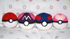 This will show you how to crochet pokeball amigurumi from the anime and video game series Pokemon. I've been hesitant to post these patterns because when I make them over again, I've always had to adjust the pattern. For example, the stripes on the great ball usually have to be changed in length depending on how much the ball is stuffed. The love ball's heart is also not crocheted but cut out of felt and back stitched together. I decided to post these patterns up to give you a general idea…